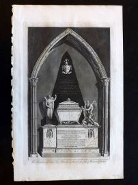 Hasted Kent C1790 Print. Monument of Lady Ann Henniker, Rochester Cathedral